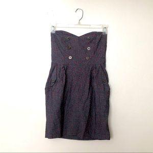 Modcloth Sweetheart Strapless Button Dress